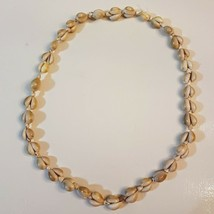 "Natural Hawaiian Shell Lei NECKLACE 36"" double strand Ring Top Cowrie Miter - $19.79"