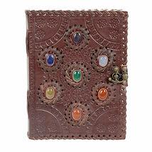 "Seven Chakras Leather Journal 8x6"" Handmade w/ Gemstones and Latch Closu... - $78.17"