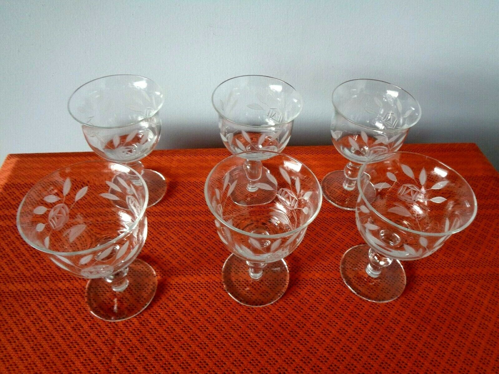 Primary image for 6 Vintage Etched Wine or Brandy Goblets  With Rose Pattern