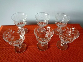 6 Vintage Etched Wine or Brandy Goblets  With Rose Pattern - $14.99