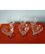 6 Vintage Etched Wine or Brandy Goblets  With Rose Pattern - $14.99