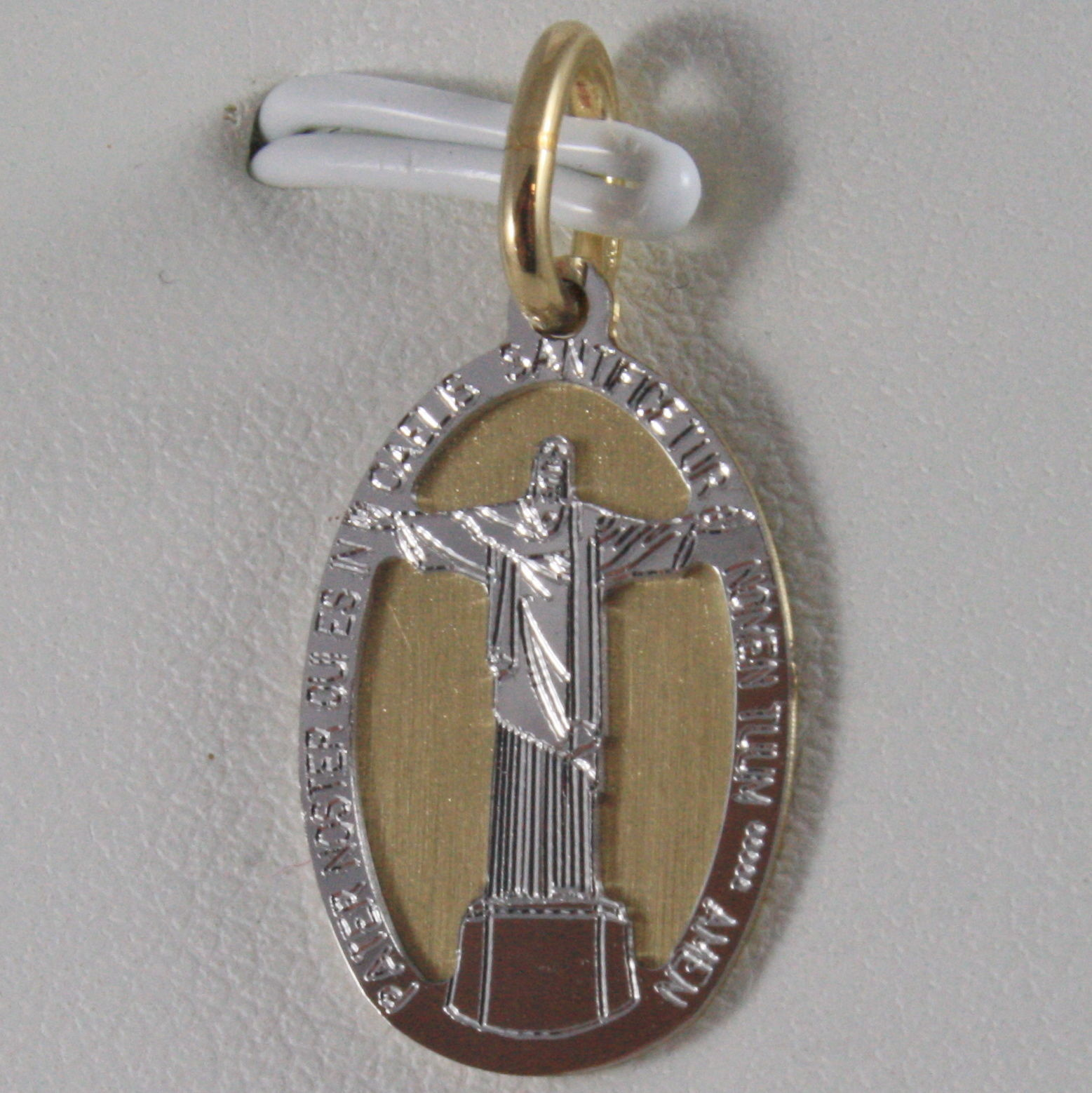 SOLID 18K WHITE YELLOW GOLD MEDAL CHRIST OF RIO REDEEMER REDENTOR, MADE IN ITALY