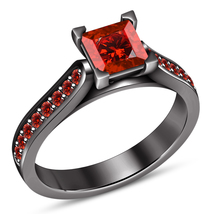 Solitaire With Accents Ring Princess Cut Red Garnet Black Gold Plated 925 Silver - $72.99