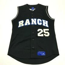 VINTAGE Mizuno Ranch Softball Baseball Jersey Size Medium Black Sleevele... - $27.33