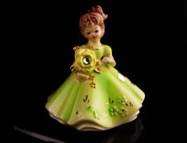 Peridot Figurine - Josef Original - Yellow rose - green  Rhinestone - Au... - $45.00