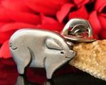 Vintage pewter pig piglet lapel pin tie tac signed mvb 84 figural thumb155 crop