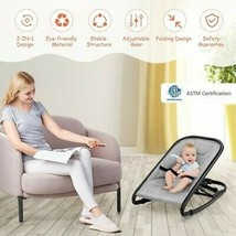 2-in-1 Adjustable Baby Bouncer and Rocker-Gray - Color: Light Gray - $93.57