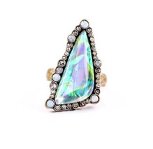 LG Triangle Quartz Crystal Ring Sz 7 Gypsy Big Raw Boho Natural Fairy St... - $15.29