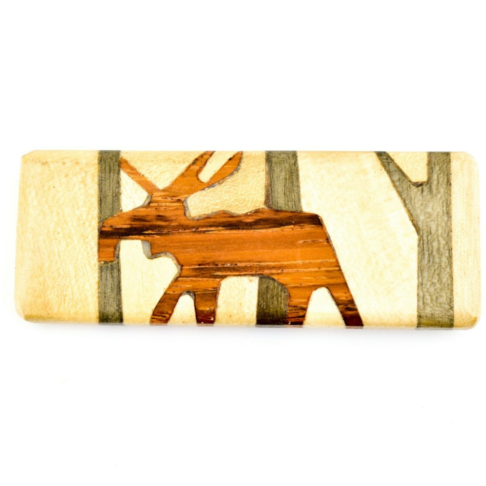 Northwoods Wooden Parquetry Rustic Moose Design Tile Magnet