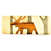 Northwoods Wooden Parquetry Rustic Moose Design Tile Magnet image 1