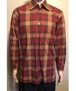 Men's Ermenegildo Zegna LS Plaid Casual Dress Shirt Large Red Orange Brown - $29.02