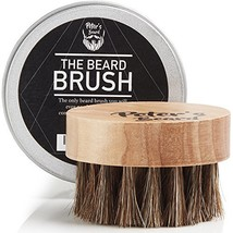 Beard Brush for Men - Round Wooden Handle Perfect for Beard Oil & Balm with Natu