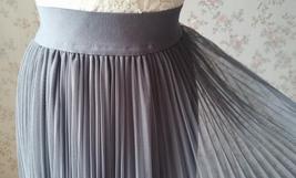 Dusty Blue Pleated Tulle Skirt Plus Size High Waist Pleat Bridesmaid Long Skirt image 11