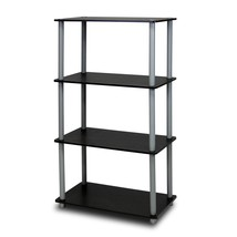 Furinno 99557BK/GY Turn-N-Tube 4-Tier Multipurpose Shelf Display Rack - ... - $29.71