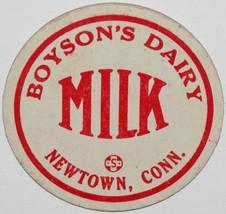 Vintage milk bottle cap BOYSONS DAIRY Milk Newtown Connecticut new old s... - $9.99