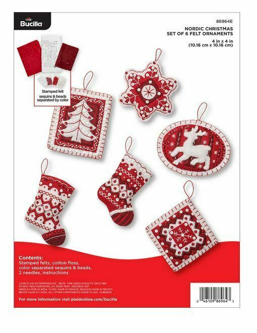 Primary image for Bucilla 'Nordic Christmas' Red and White Felt Ornament Stitchery Kit, 86964E