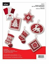 Bucilla 'Nordic Christmas' Red and White Felt Ornament Stitchery Kit, 86... - $21.99