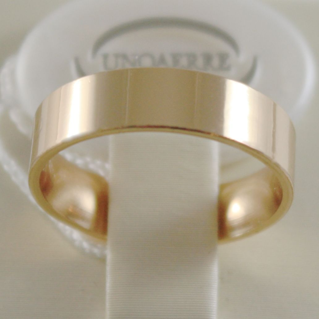 18K YELLOW GOLD WEDDING BAND UNOAERRE SQUARE RING MARRIAGE 5 MM, MADE IN ITALY