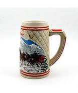 1985 Budweiser Beer Holiday Christmas Stein Mug Wagon Clydesdales Ceramarte - $28.49