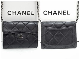 Auth Chanel Black Lambskin Silver Matelasse Card Coin Wallet Mini WOC Cr... - $685.00