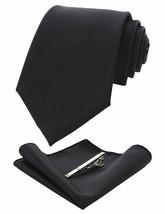 JEMYGINS Solid Color Formal Necktie and Pocket Square Tie Clip Sets for Men - $28.05
