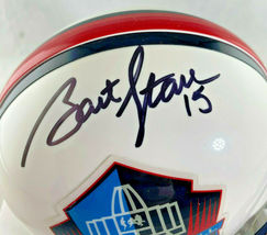 BART STARR / NFL HALL OF FAME / AUTOGRAPHED HALL OF FAME LOGO MINI HELMET / COA image 2