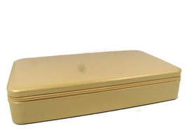 Estee Lauder Makeup Jewelry Case Organizer Travel w/ Mirror Zippered Faux Gold  - $34.64