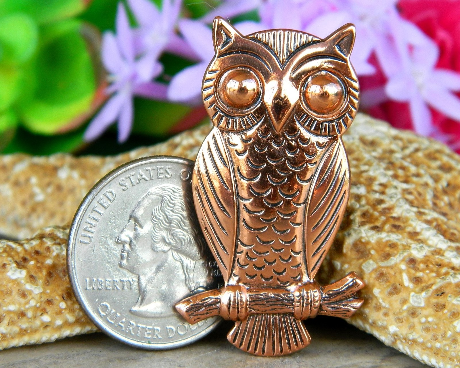Vintage Solid Copper Owl Tree Branch Brooch Pin Bell Trading Post USA