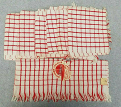 Vintage 1960s Kitchen Terries Cone MCM Terrycloth Towels Red White Lot 7... - $44.55