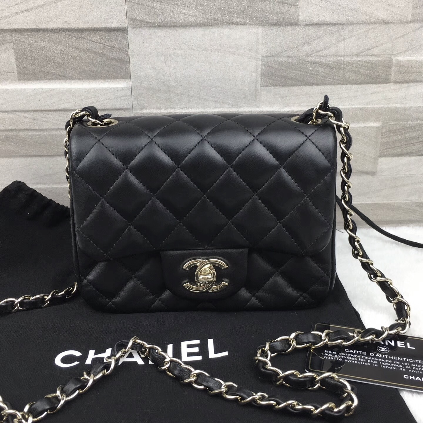 3dd9b3afb23b 3a4690bb 1554 40d1 96b3 83a72eb12609. 3a4690bb 1554 40d1 96b3 83a72eb12609.  AUTHENTIC CHANEL 2017 BLACK QUILTED LAMBSKIN SQUARE MIN FLAP BAG SILVER  HARDWARE