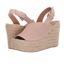 Marc Fisher Andela Blush Pink Suede Leather Jute Wedge Peep Toe Sandal 6 M New - $38.66