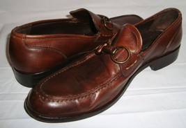 Johnston & Murphy Brown Leather Horse Bit Loafers 11.5 Dress Casual Shoes - $59.95