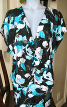 DKNY IRINI FLORAL Cover-Up RUCHED RUFFLED DRESS MEDIUM M MD $136 NEW BOTTLE - $60.73