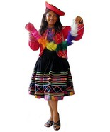 Alpakaandmore Women's Complete Peruvian Dance Costume Large Red - $165.90