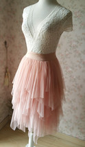 Layered Midi Tulle Skirt Blush Pink Ballerina Tulle Skirt Blush Party Midi Skirt image 5