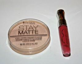 Rimmel Stay Matte Pressed Powder # 012 +  Lip Gloss 180 Lot Of 2 Sealed - $13.67