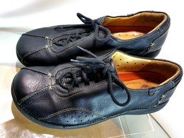 CLARKS Unstructured Women's Black Leather Lace Up Casual Shoes Size 7 M US - $24.74