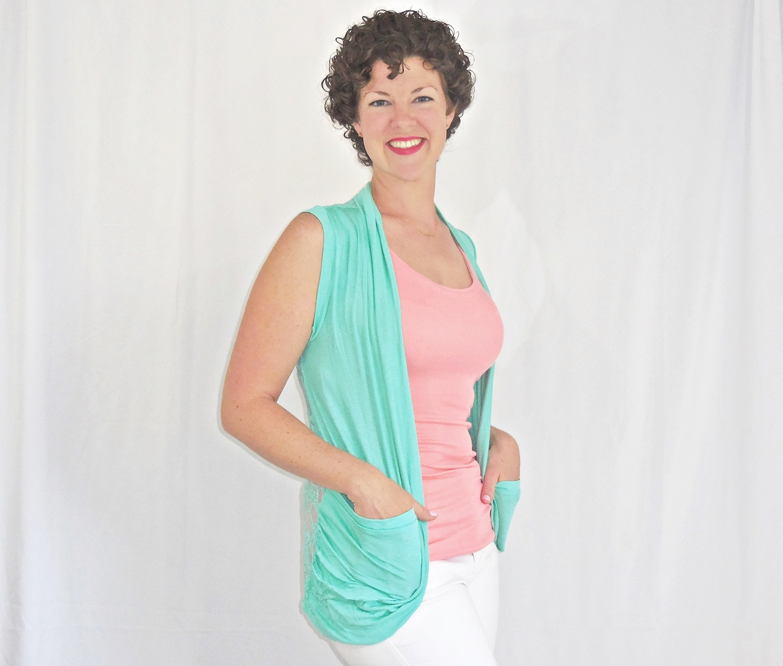 Mint Lace Back Vest, Mint Blue Open Front Vest, Lightweight Rayon Layering