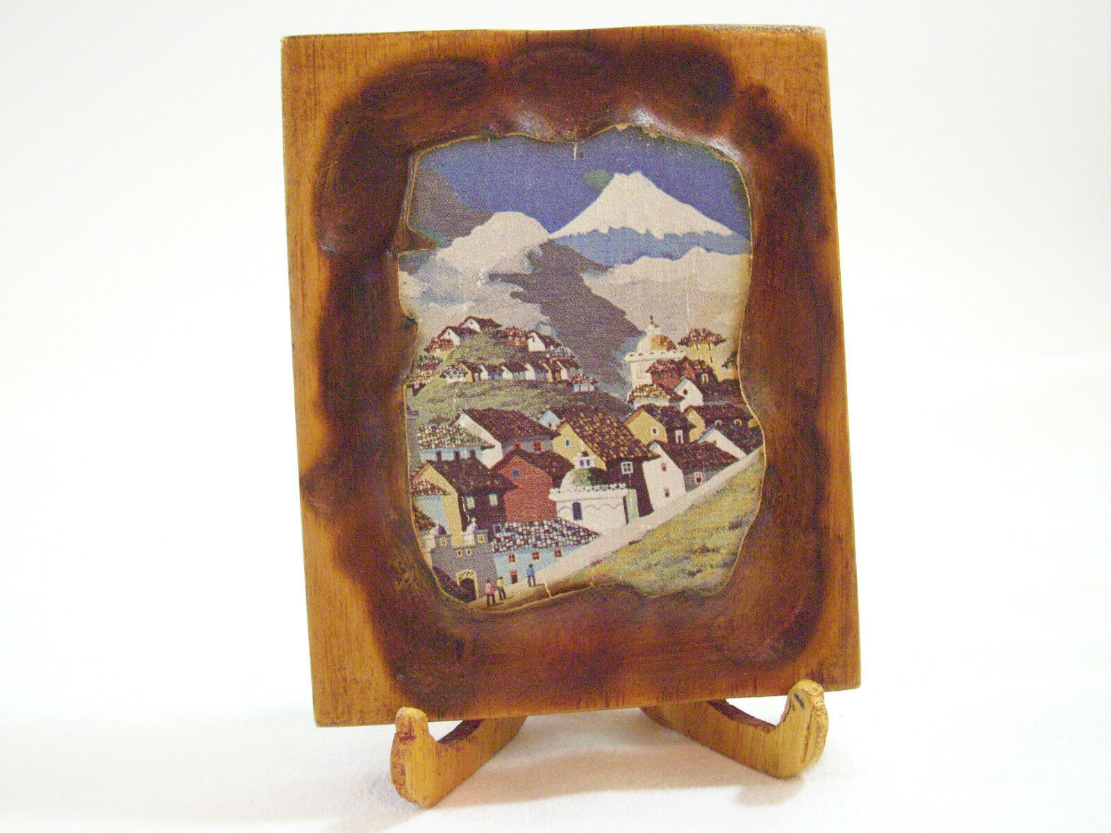 RUSTIC Painting MOUNTAIN VILLAGE Wood Wall Hanging Stand Little Vintage Art