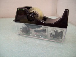 Tape Dispenser with Storage Compartments Paper Clips, Tacks More - €5,24 EUR