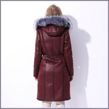 Silver Russian Fox Fur Hooded Collar Long Sleeves Plush Lined Faux Leather Coat image 2