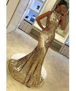 Elegant High Neck Mermaid Gold Prom Dresses Long Evening Dresses - $169.99+