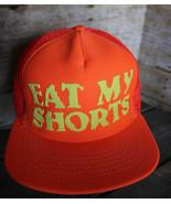 "80s 90s Vintage ""EAT MY SHORTS"" Retro Neon Orange Snapback Trucker Hat C... - $38.69"