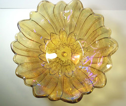 Vintage Amber Marigold Indiana Carnival Glass Bowl Sun Flower - $7.52