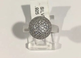 Sterling Silver Ball Shape Cocktail Ring With cz Stones - $64.52