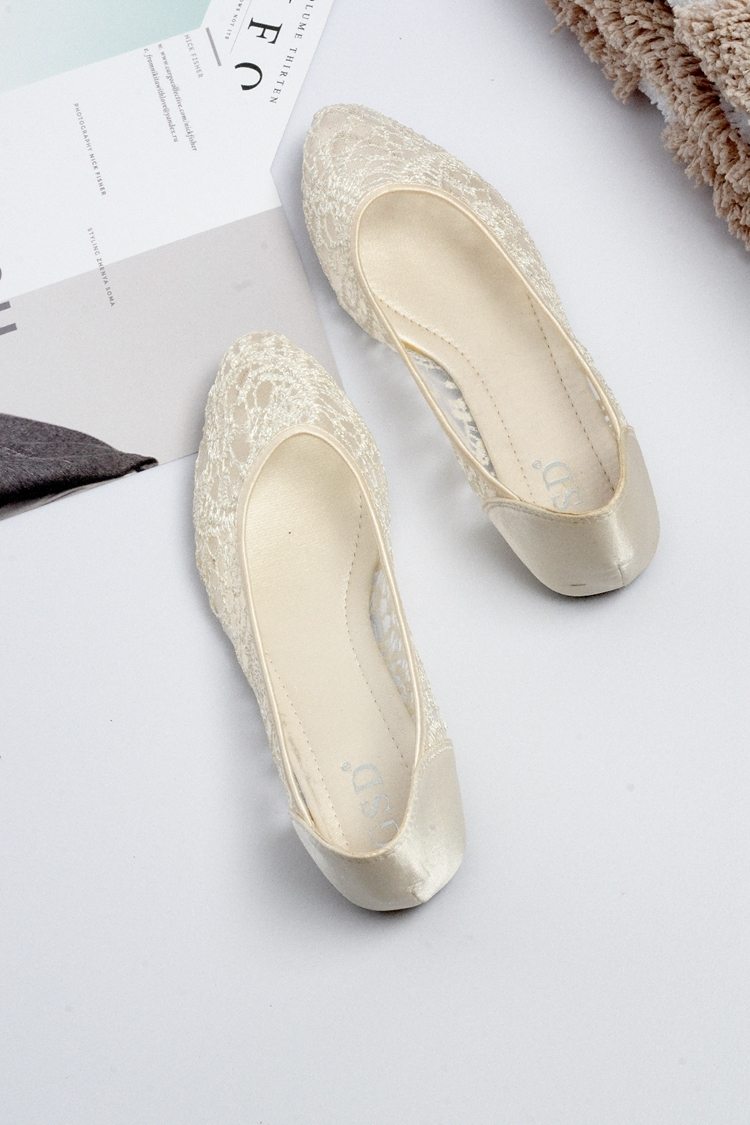 Champagne Ballet Flats Slippers Shoes Evening Lace flat Party flat Wedding Flats