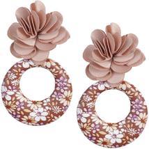 Brown Floral Fabric Drop Hoop Earrings - $13.64