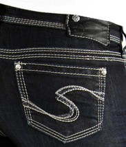 New SILVER Jeans Sale Buckle Low Rise Dark Tuesday Denim Jean Stretch Sh... - $19.97