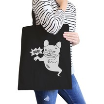Boo French Bulldog Ghost Black Canvas Bags - $14.99