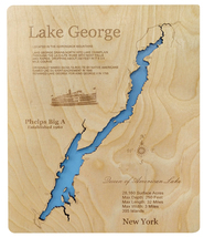 Wood Laser Cut Map of Lake George, New York Topographical Engraved Map - $124.99+